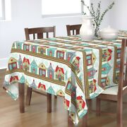 Tablecloth Gingerbread Houses Festive Holiday Baking Colorful Cotton Sateen