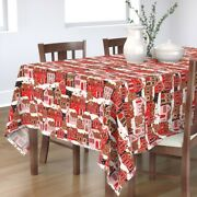 Tablecloth Christmas Gingerbread Houses Holiday Baking Winter Cotton Sateen