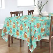 Tablecloth Christmas Holiday Gingerbread Ornament Baking Snowflake Cotton Sateen