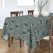 Tablecloth White Berries Birds Winter Holiday Christmas Cotton Sateen