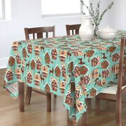 Tablecloth Gingerbread House Winter Village Woodland Holiday Cotton Sateen