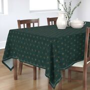 Tablecloth Teal Star Geometric Holiday Triangles Geo Copper Cotton Sateen
