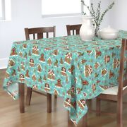 Tablecloth Gingerbread House Cookies Decorating Holiday Baking Cotton Sateen