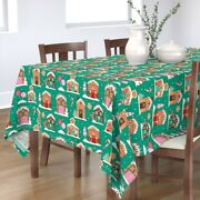 Tablecloth Gingerbread House Chirstmas Decorating Holiday Baking Cotton Sateen