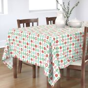 Tablecloth Pink Vintage Green Red Retro Turquoise Holiday Cotton Sateen