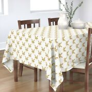 Tablecloth Deer Gold Stripes Tree Snow Holiday Christmas Cotton Sateen