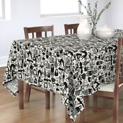 Tablecloth Black White Holiday Autumn Fall Monster Creatures Cotton Sateen