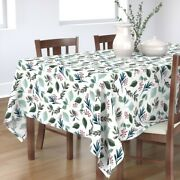 Tablecloth Green Blue Leaves Berries Winter Holiday Christmas Cotton Sateen