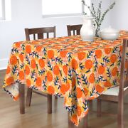 Tablecloth Blue Leaves Orange Fruit Abstract Tree Holiday Cotton Sateen