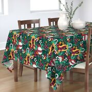 Tablecloth Green Red Berries Holiday Foliage Seasonal Ornament Cotton Sateen