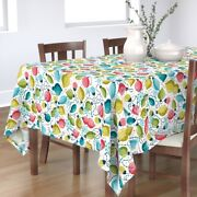 Tablecloth Happy Light Holiday Christmas Colorful Fun Ornaments Cotton Sateen
