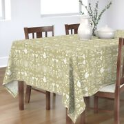 Tablecloth Gold Holiday Hanukkah Peace Candles Dove Peaceful Cotton Sateen