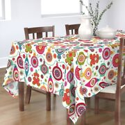 Tablecloth Holiday Large Scale Celebration Baubles Mid Century Cotton Sateen