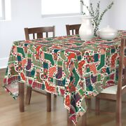 Tablecloth Pink Green Teal Red Orange Holiday Christmas Cotton Sateen