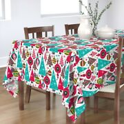 Tablecloth Vintage Retro Holiday Christmas Large Scale Cotton Sateen