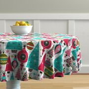 Round Tablecloth Vintage Retro Holiday Christmas Large Scale Cotton Sateen