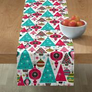 Table Runner Vintage Retro Holiday Christmas Large Scale Cotton Sateen