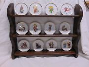 New England Collectors Society Berta Hummel Angel Plate Collection W/wall Rack