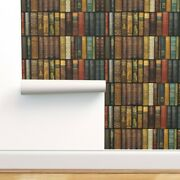 Peel-and-stick Removable Wallpaper Book Library Shelves Witty Victorian Vintage