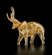 Elephant In Murano Glass With Gold 24 Figurine 17 11/16in Made Andigraven Italy By Hand