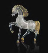 Horse In Murano Glass Sculpture To Trot Made Italy Made By Hand
