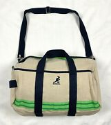 Vintage Kangol Woven Duffel Bag - Carry-all Beige + Navy And Green 17x14x11