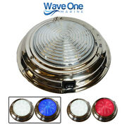 Wave One Marine   7 Stainless Led Boat Rv Dome Light   Dual Color White And Blue