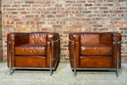 Vintage Pair Of Le Coubusier Lc2 Style Hand Dyed Leather And Chrome Armchairs