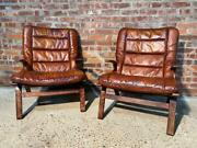 Vintage 1970 Danish Pair Of Bentwood Chairs Tan Leather Hand Dyed
