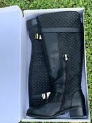 Cato Brand New In Box Quilted Riding Boots Black And Gold Size 11 Wide ❤️sj8m7