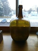 Large Early Crude Glass Demijohn Bottle Olive Green 18th/19th Century