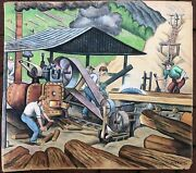 Harry W Scheuch / Large 1947 Wpa Style Artwork In Colored Pencils Of Workers At