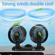 10x12v 360 Two Head 2-speed Car Dashboard Cooling Fan With Dual Usb Charger
