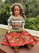 Old Vtg Mexican China Poblana Doll Composition Glass Eyes Straw Filled Body
