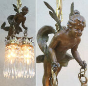 Spelter Vintage French Lamp Flying Fairy Dragonfly Cherub Nouveau Tinkerbell