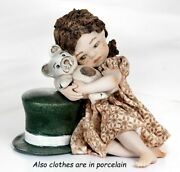 Figurine Porcelain Figurine Little Girl With Teddy Bear Made By Hand In Italy
