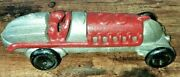 Cast Iron Toy 8 Race Car Hubley Reproduction Red And Silver Moving Wheels 22