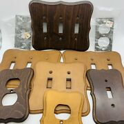 Vintage Lot Of Seven Maple/pine Wood Light Switch Plate Outlet Covers Mcm