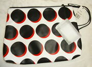 Saks Fifth Avenue Cosmetic Bag Large Polka Dots 12 X 10 W Card Holder Gr8 Gift