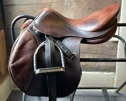 """17.5"""" Antares Jumping/close Contact Saddle W/cover, Leathers, Stirrups"""