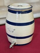 Antique Stoneware Crock 2 Gallon Water Cooler Dispenser With Blue Stripes And Lid