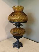 Vintage Mid Century Art Deco Brown Amber Glass Lamp Shade Oil Lamp Hobnail