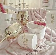 Moet And Chandon Champagne Ice Bucket, Ice Cooler, Gold And White Goblet Glasses