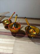 Vintage Russian Khokhloma Hand Painted 3 Wood Bowl 3 Wooden Spoons Lot