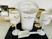 Moet And Chandon Champagne White And Gold Luxury Party Ice Bucket And Goblets