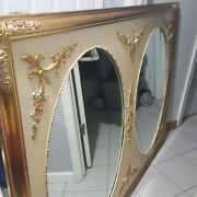 Vintage Hollywood Regency Double Oval Mirror Wall Decor Wooden Frame Gold Mcm