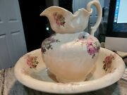 Ironstone Creme Pitcher And Wash Basin Bowl Set With Rose Flower Design