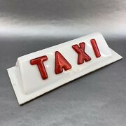 """Taxi Cab vintage 12"""" roof Top Plastic Red White Sign Metallic"""