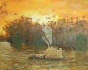 Vintage Oil Painting - The Paddle Steamer P306