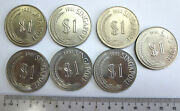 7 Singapore 1 / One Dollar Nickel Lion Coins 1968 1981 1982, Unc Uncirculated